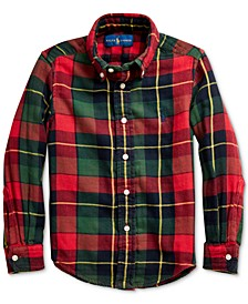 Little Boys Plaid Cotton Twill Shirt