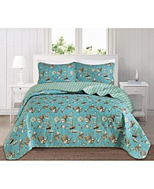 Great Bay Home Seychelles Collection Coastal 3-Piece Quilt Set, Full/Queen
