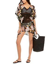 Printed Drawstring Kaftan Swim Cover-Up