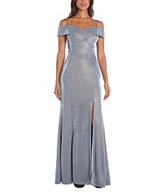 Cold-Shoulder Glitter Gown