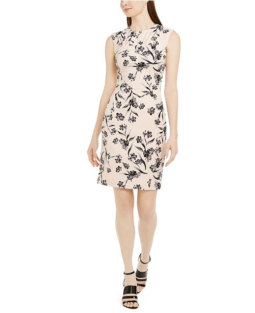 Calvin Klein Floral-Print Pleated Sheath Dress