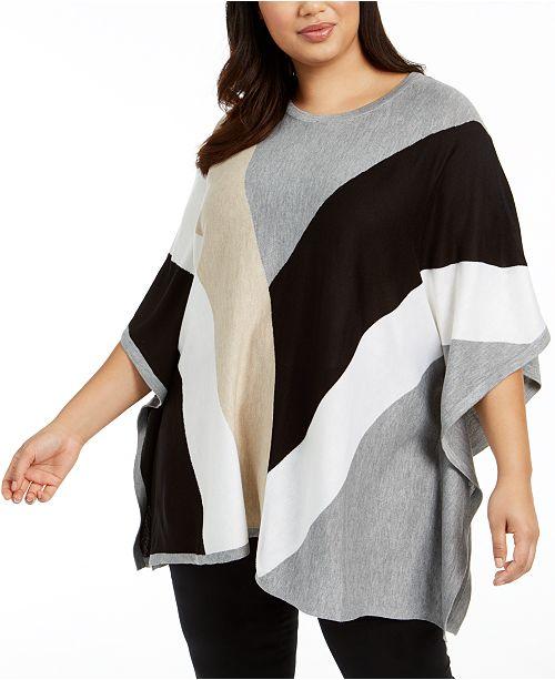 Calvin Klein Plus Size Colorblocked Poncho Sweater