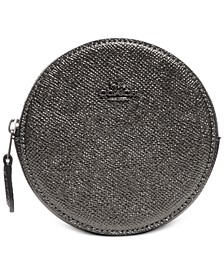 Metallic Leather Round Coin Case