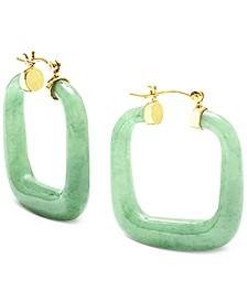 """Dyed Jade (32mm) Square Medium Hoop Earrings in 14k Gold-Plated Sterling Silver, 1.25"""""""