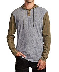 Men's Pick Up Colorblocked Knit Hooded Sweatshirt