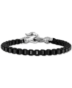 Box Link Chain Bracelet in Black Enamel & Stainless Steel (Also in Red & Blue Enamel)