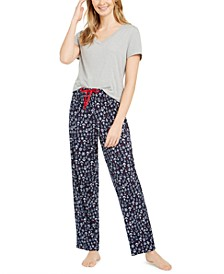 Women's V-Neck Top & Matching Novelty Pajama Pants, Online Only