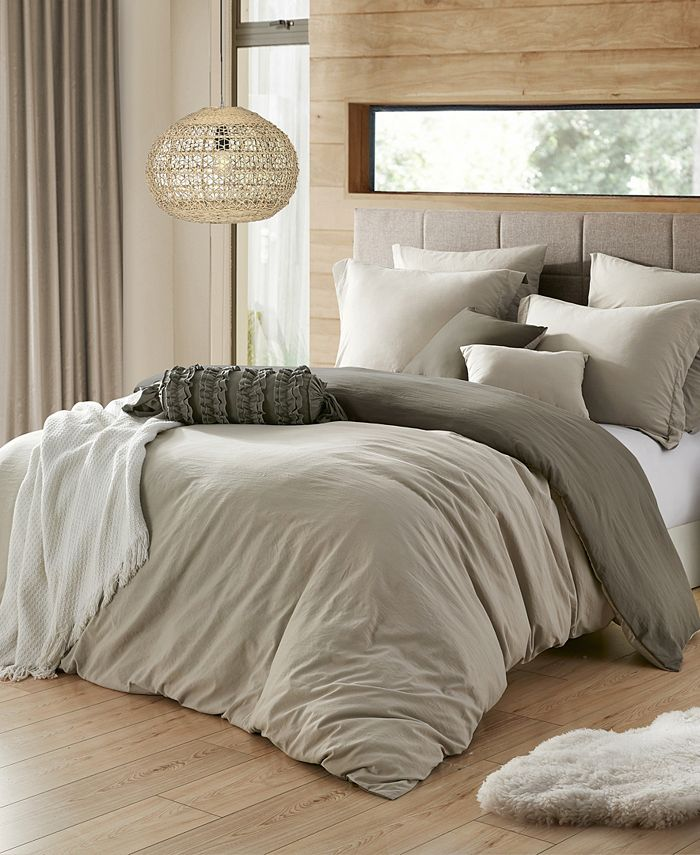Cathay Home Inc. - Ultra Soft Reversible Crinkle Duvet Cover Set - King/Cal King