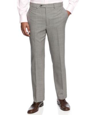 Check 100% Wool Flat-Front Dress Pants