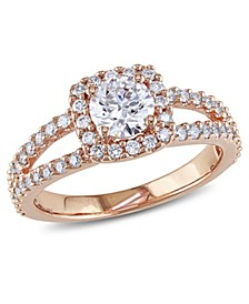 Certified Diamond (1 ct. t.w.) Halo Engagement Ring in 14k Rose Gold