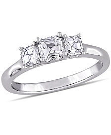 Asscher- Cut Certified Diamond (1 ct. t.w.) 3- Stone Engagment Ring in 14k White Gold