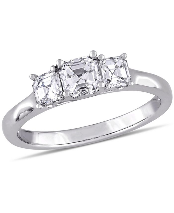 Macy's - Asscher- Cut Diamond (1 ct. t.w.) 3- Stone Engagment Ring in 14k White Gold