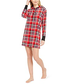 Women's Velour Plaid Sleepshirt Nightgown