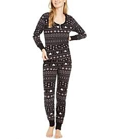 Women's Printed Waffle Fleece Pajamas Set