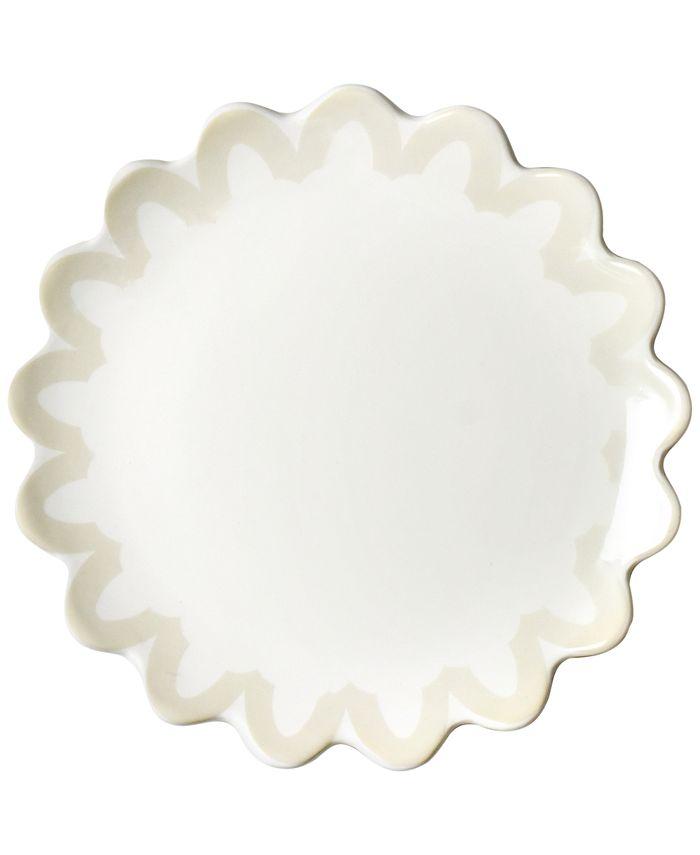 Coton Colors - Ecru Arabesque Trim Scallop Edge Salad Plate