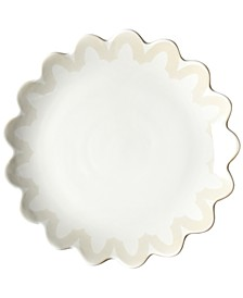 by Laura Johnson Ecru Arabesque Trim Scallop Edge Dinner Plate