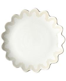 Ecru Arabesque Trim Scallop Edge Dinner Plate