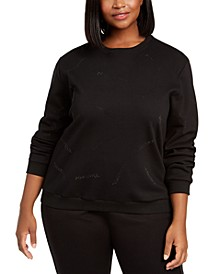 Trendy Plus Size Embellished Sweatshirt