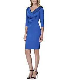 Collared Satin Sheath Dress
