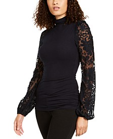 Ellie Tahari Embroidered-Sleeve Top