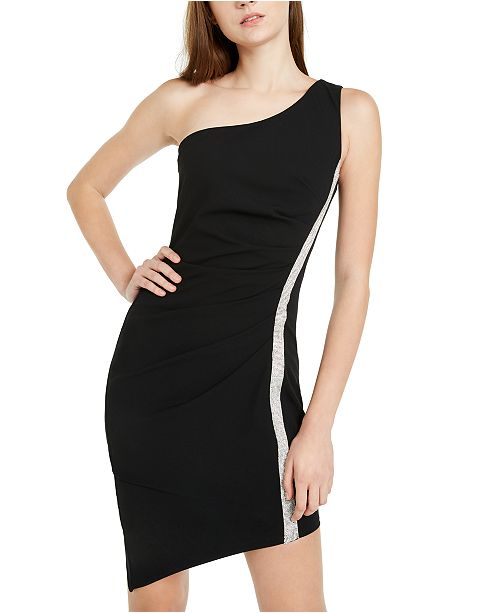 BCX Juniors' Rhinestone-Trim One-Shoulder Dress