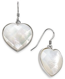 Mother-of-Pearl Heart Drop Earrings in Sterling Silver