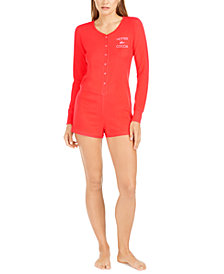 Jenni Women's Thermal One Piece Sleep Romper, Created For Macy's