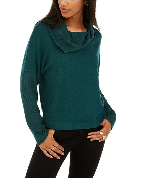 BCX Juniors' Textured Cowlneck Sweater