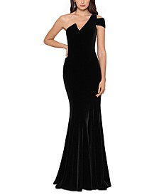 Velvet One-Shoulder Gown