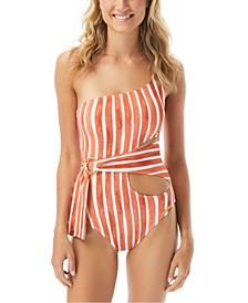 Hammock Stripe Printed One Shoulder Wrap One-Piece Swimsuit