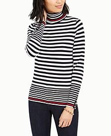 Striped Button-Sleeve Turtleneck Sweater