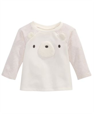 Baby Girls Bear-Face Top, Created for Macy's