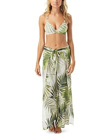 Tropical Palm Printed Cover-Up Side-Slit Pants