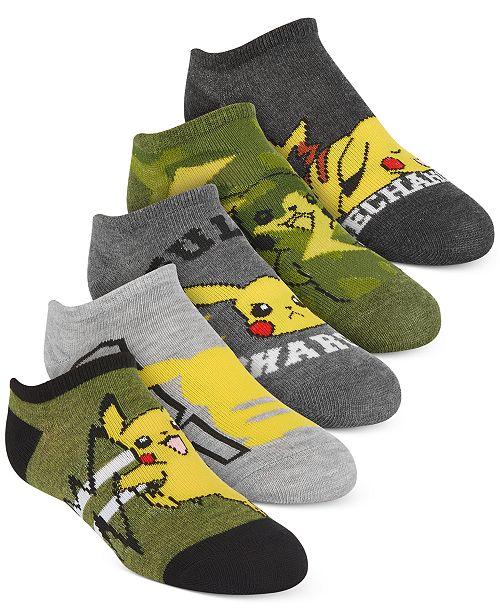 Pokemon Pokémon Little Boys 5-Pk. No-Show Socks