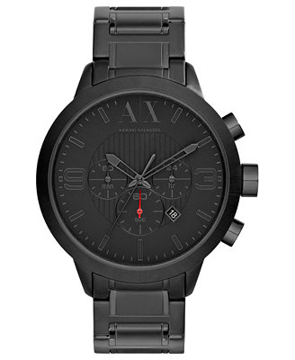 ax armani exchange watch mens chronograph black ion