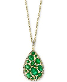 "EFFY® Emerald (3-1/20 ct. t.w.) and Diamond (1/4 ct. t.w.) Teardrop 18"" Pendant Necklace in 14k Gold"