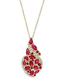 "EFFY® Certified Ruby (3-1/4 ct. t.w.) & Diamond (1/6 ct. t.w.) Swirl 18"" Pendant Necklace in 14k Gold"