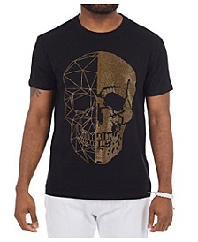 3D Graphic Printed Skull Rhinestone Studded T-Shirt