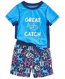 Baby Boys 2-Pc. Great Catch Rash Guard & Printed Swim Trunks Set, Created For Macy's