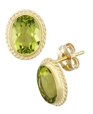 Gemstone Twist Gallery Stud Earring in 14k Yellow Gold