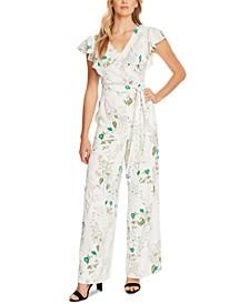 Floral Flutter-Sleeve Tie-Waist Jumpsuit