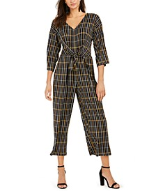 Petite Striped 3/4-Sleeve V-Neck Jumpsuit