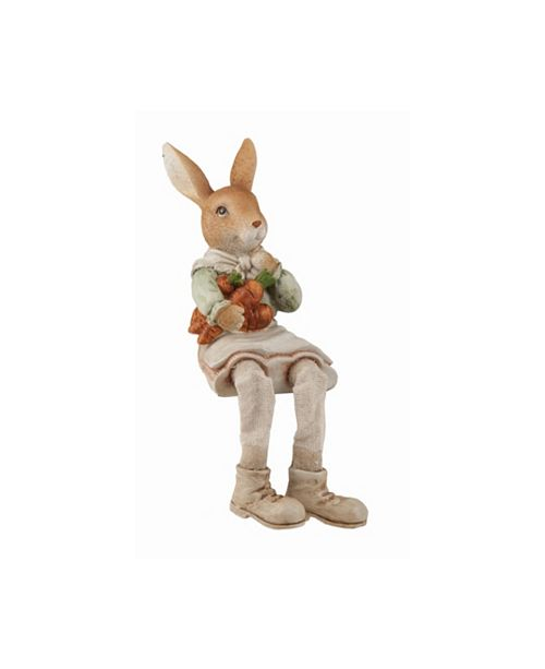 Trans Pac Brown Easter Traditional Bunny Farmer Shelf Sitter