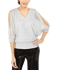 Split-Sleeve Metallic Blouson Top