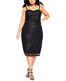 Trendy Plus Size Embroidered Strapless Dress