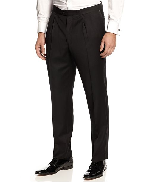 Lauren Ralph Lauren Pleated Black Classic-Fit Tuxedo Pants