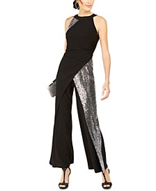 Solid & Sequined Walk-Through Jumpsuit
