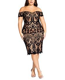 Trendy Plus Size Decadent Lace Off-The-Shoulder Dress