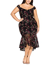 Trendy Plus Size Embroidered Off-The-Shoulder Midi Dress