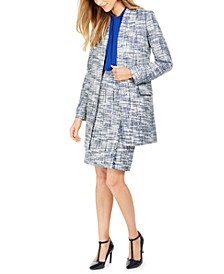 Tweed Jacket, Tie-Neck Blouse & Pencil Skirt